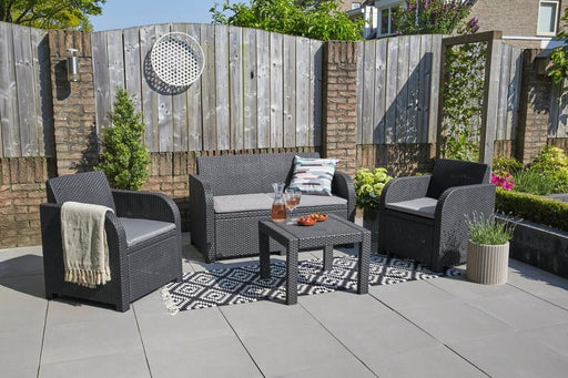 4 Piece Rattan Effect Lounge Patio Set Grey Sofa 2 Chairs Coffee Table With Cushions Black Grey - Mayflower Furniture