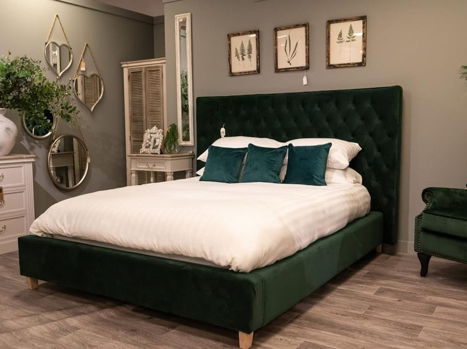 Emerald Green Button Pressed King Size Bed - Mayflower Furniture