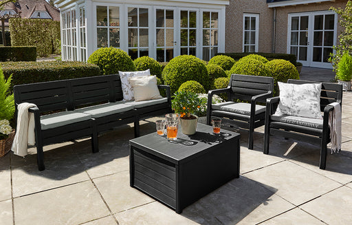 4 Piece Keter Rattan Effect Garden Patio Set Black Grey 3 Seater Sofa 2 Chairs Coffee Table Storage - Mayflower Furniture