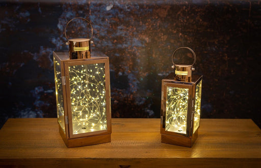 Copper Lantern With Led Micro Lights - Small or Large - Mayflower Furniture