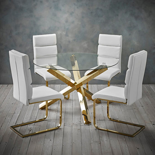 Sorrento 5 Piece Dining Set Glass Table 4 Chairs - Two Colours - Mayflower Furniture