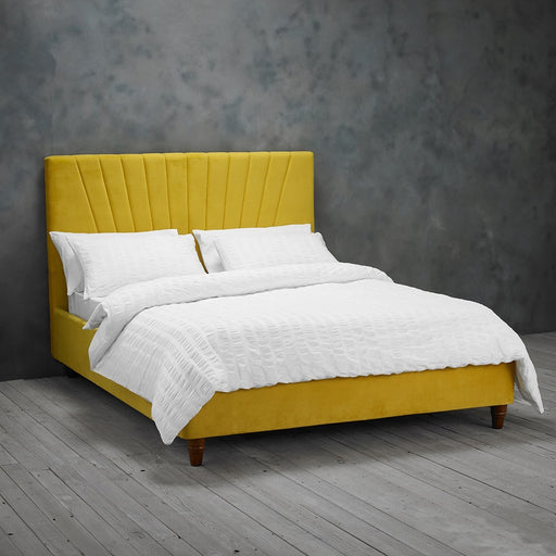 Alexis Velvet Double Bed - Three Colours - Mayflower Furniture