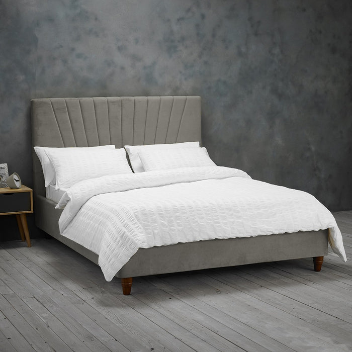 Alexis Velvet King Size Bed - Three Colours - Mayflower Furniture