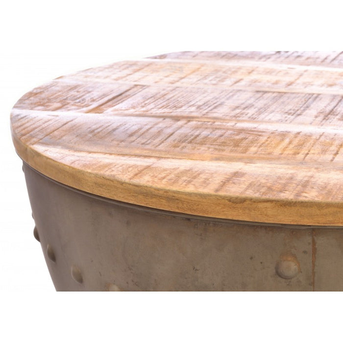 Old Empire Round Storage Coffee Table