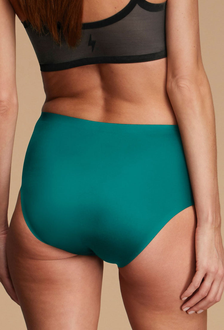 Woman Wearing EBY Green Lake High Waisted Underwear Missy Size Back View