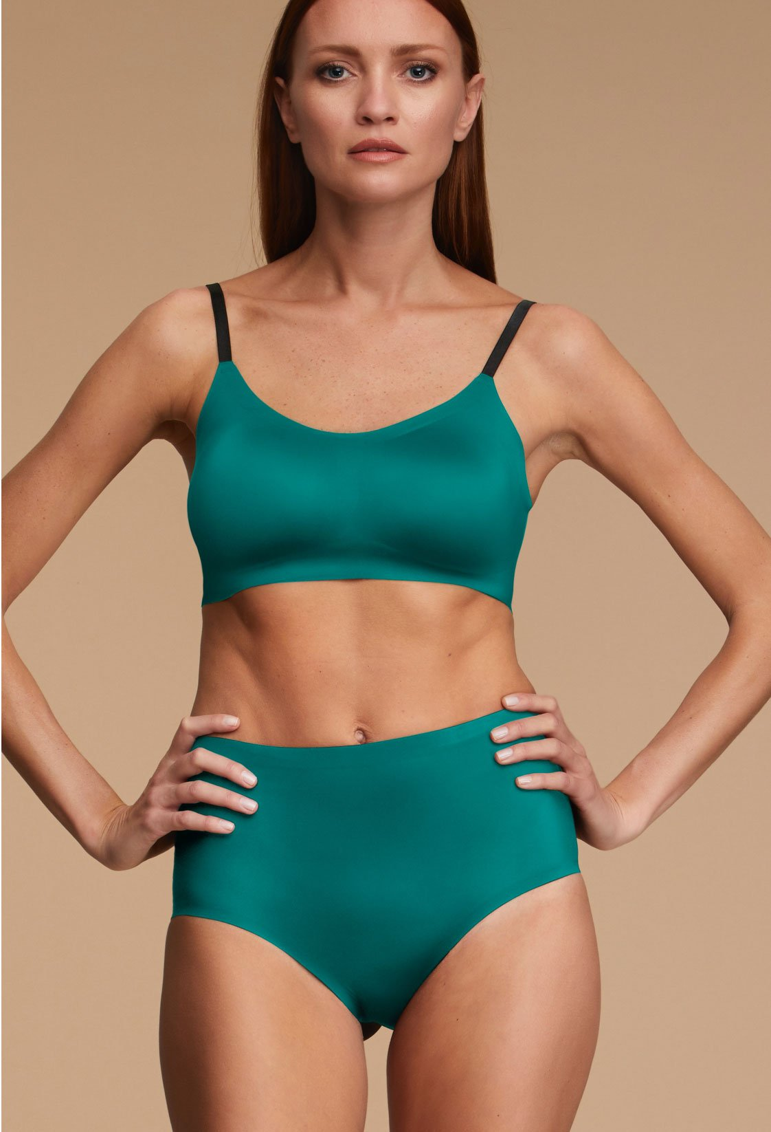 Woman Wearing EBY Green Lake High Waisted Underwear Missy Size Front View
