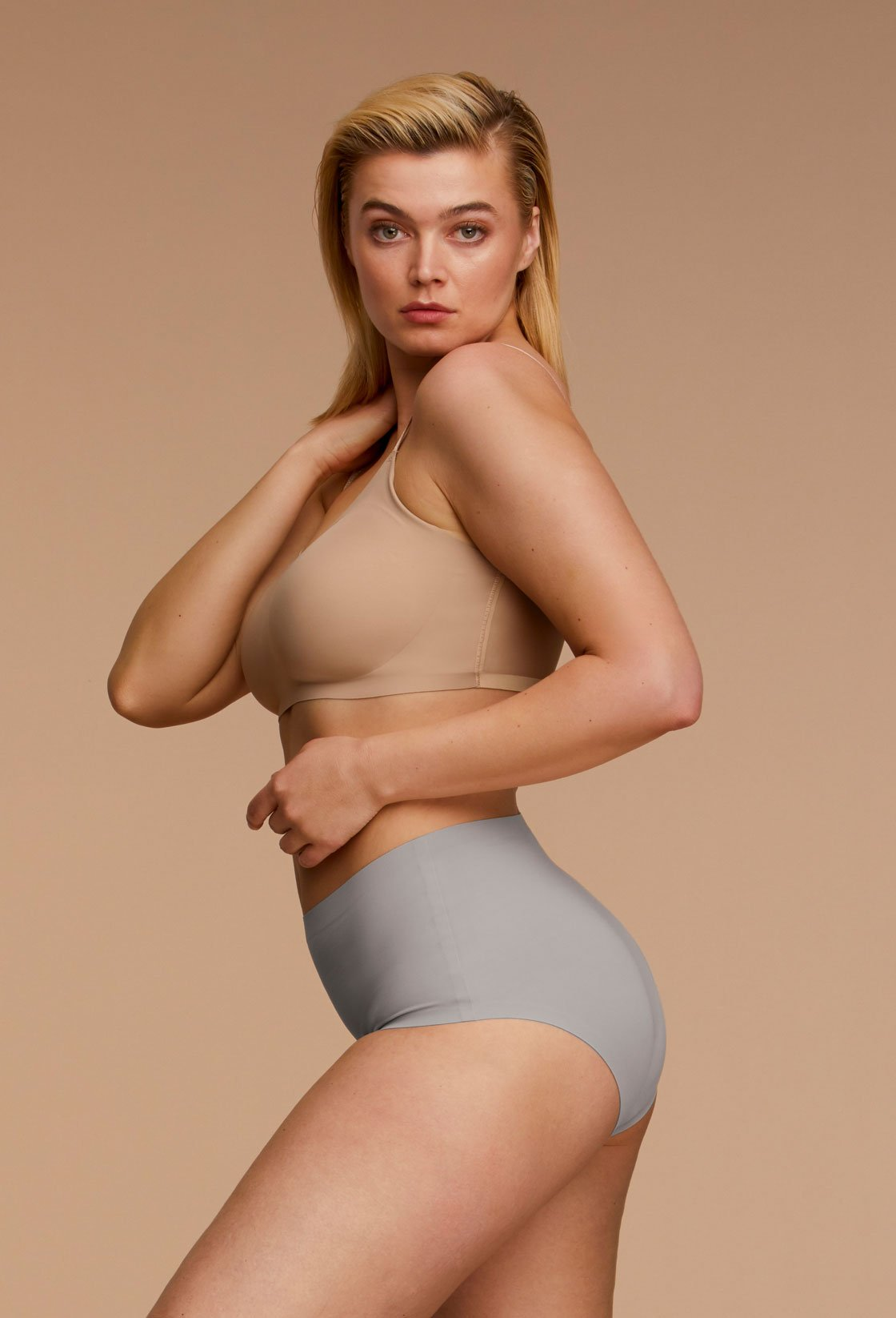 Woman Wearing EBY High Waisted Neutrals in Grey Plus Size Side View