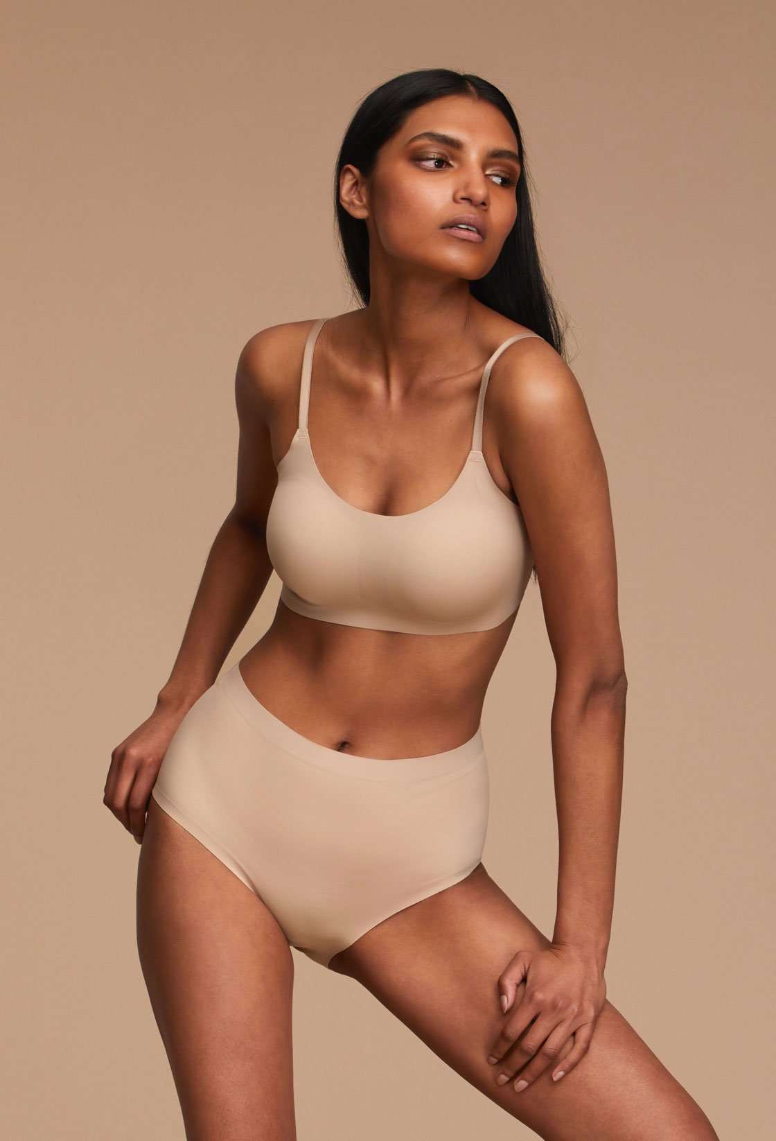 Woman Wearing EBY High Waisted Neutrals in Nude Missy Size Front View
