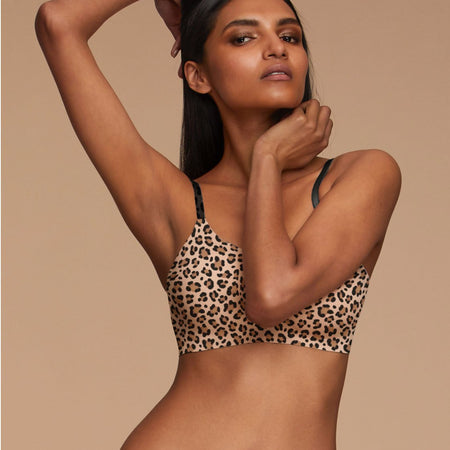 Woman Wearing EBY Leopard Thong Underwear Missy Size Front View