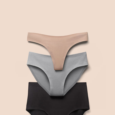 Nude Thong and Grey Brief and Black High Waisted Seamless Underwear