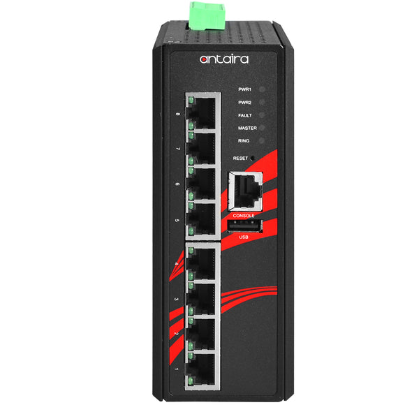 8-Port Industrial PoE+ Managed Ethernet Switch w/8*10/100/1000Tx Gigabit Ports, 48~55VDC