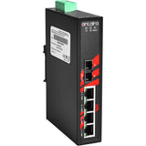 5-Port Industrial PoE+ Unmanaged Ethernet Switch w/4x10/100TX (30W/Port) + 1*100Fx Multi-mode 2Km, 48~55VDC