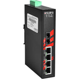 5-Port Industrial PoE+ Unmanaged Ethernet Switch w/4x10/100TX (30W/Port) + 1*100Fx Single-mode 30Km, 48~55VDC