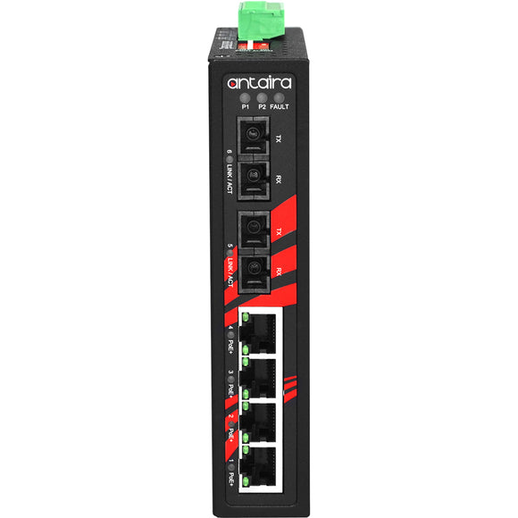 6-Port Industrial PoE+ Unmanaged Ethernet Switch, w/4*10/100Tx (30W/Port), 2*100Fx Multi-mode 2Km,48~55VDC