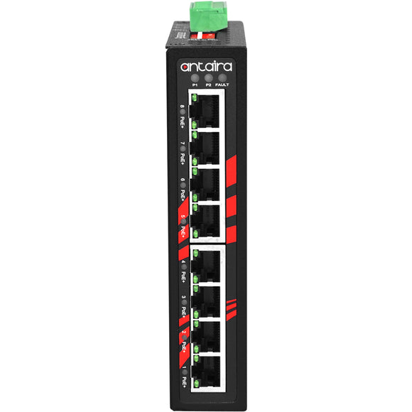8-Port Industrial PoE+ Unmanaged Ethernet Switch, w/8*10/100Tx (30W/Port), 48~55VDC