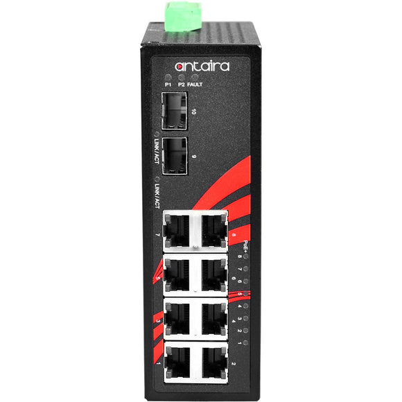 10-Port Industrial PoE+ Unmanaged Ethernet Switch, w/8*10/100/1000Tx (30W/Port) + 2*100/1000 SFP Slot, 12~36VDC