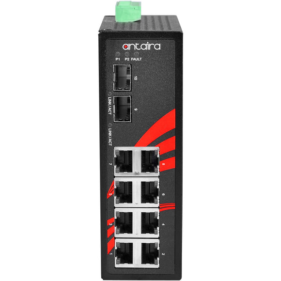 10-Port Industrial Gigabit Unmanaged Ethernet Switch, w/8*10/100/1000Tx + 2*100/1000 SFP Slots