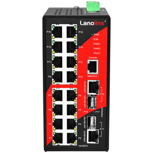 18-Port Industrial Managed Ethernet Switch, w/16*10/100Tx + 2*GigE Combo Ports