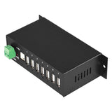 Industrial 7-Port USB Hub, Metal Case, with Locking Feature. Supports USB 1.1 and 2.0