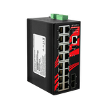 18-Port Industrial Gigabit Managed Ethernet Switch, w/16*10/100/1000Tx Ports + 2*100/1000 SFP ports