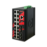 20-Port Industrial Gigabit Managed Ethernet Switch, w/16*10/100/1000Tx Ports + 4*100/1000 SFP ports; 12~48VDC Power Input