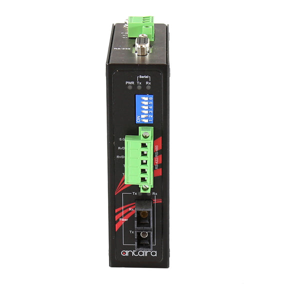 Industrial Compact RS-232/422/485 To Fiber Converter, Multi-Mode 2KM, SC Connector, -40°C ~ 70°C