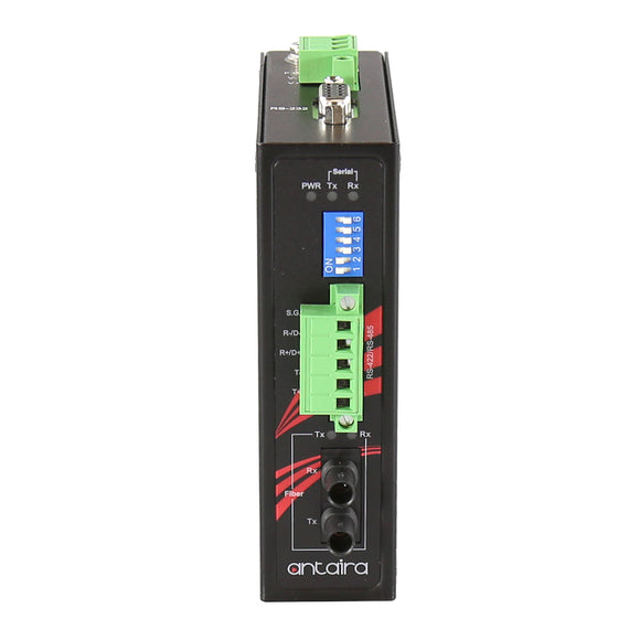 Industrial Compact RS-232/422/485 To Fiber Converter, Multi-Mode 2KM, ST Connector, -40°C ~ 70°C