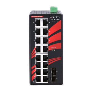 18-Port Industrial Gigabit Unmanaged Ethernet Switch, w/ 16*10/100/1000Tx + 2*100/1000 SFP Slots