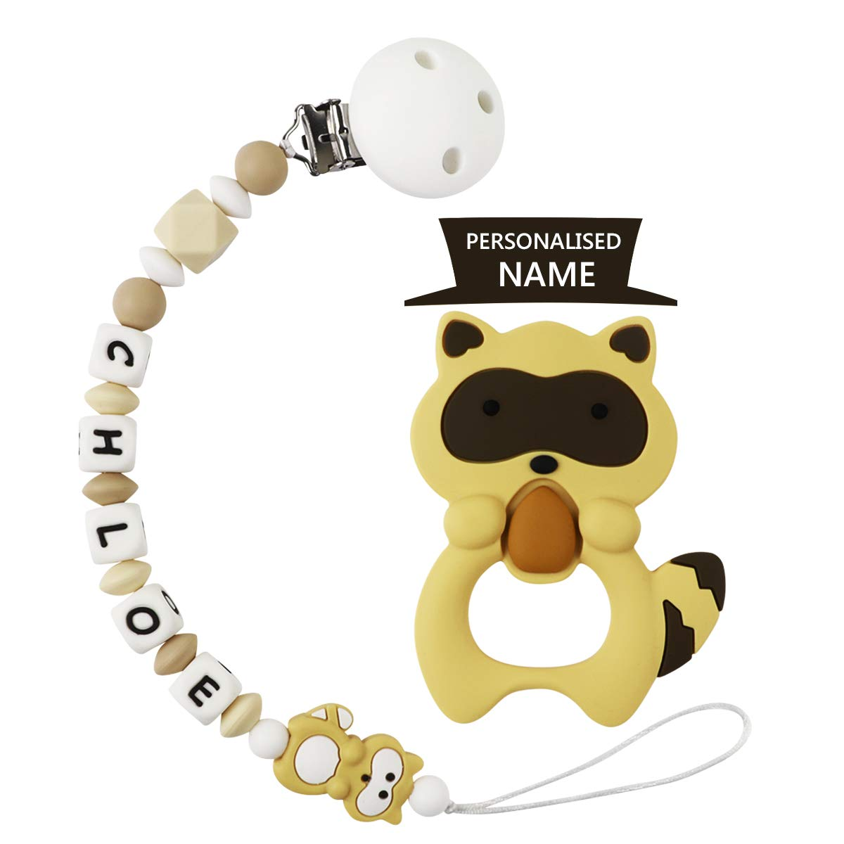 Pacifier Clip Personalized Name - Holder Teething Silicone Beads