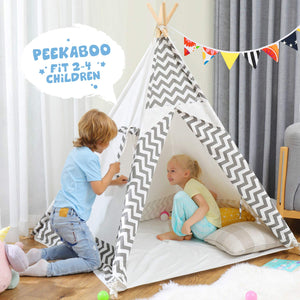 Teepee Play Tent for Kids, Colorful Lights, Flag, Carpet, Non-Slip Base