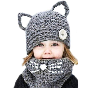 LILLIWEEN Winter Kid Animal Knit Hat Warm Fox Cat Animal Hats Knitted Coif Hood Scarf Beanies for Autumn Winter (A Gray(3-8years Old))