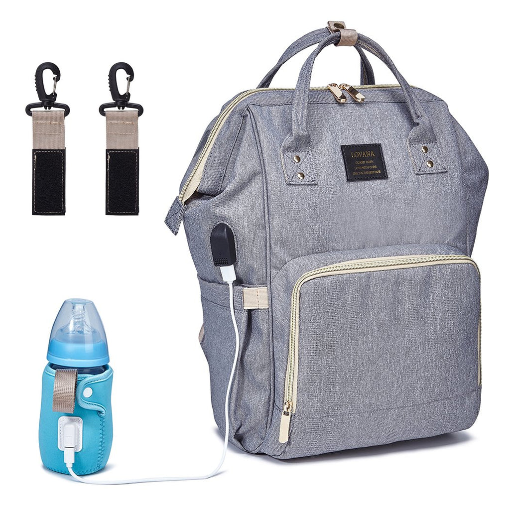 Multi-Functional Mommy Waterproof  Backpack with USB Charging Port & Bottle Warmer.