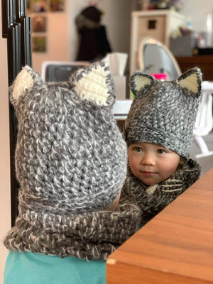 LILLIWEEN Winter Kid Animal Knit Hat Warm Fox Cat Animal Hats Knitted Coif Hood Scarf Beanies for Autumn Winter