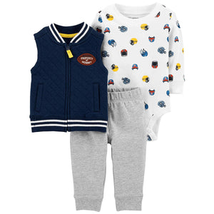 Football Blue Baby Boys' Vest Sets
