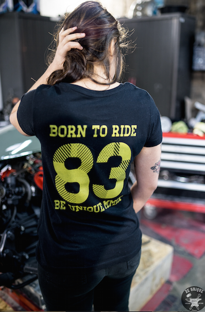 T-shirt Born To Ride Bio, Noir et Jaune - BEUNIQUEMMIX