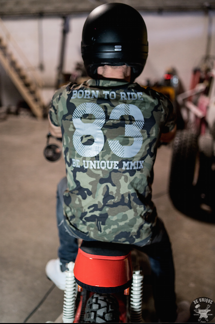 T-shirt Born To Ride, Camouflage et Gris - BEUNIQUEMMIX