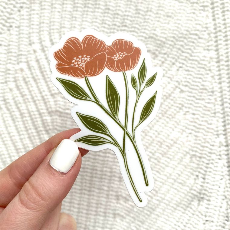 Orange Poppy Sticker 4x2in.