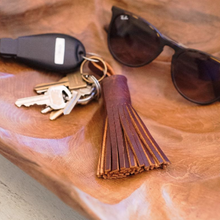 Load image into Gallery viewer, Leather Tassel Key Chain (Handmade)