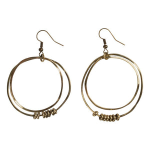Hammered Brass Double Hoop w/beads