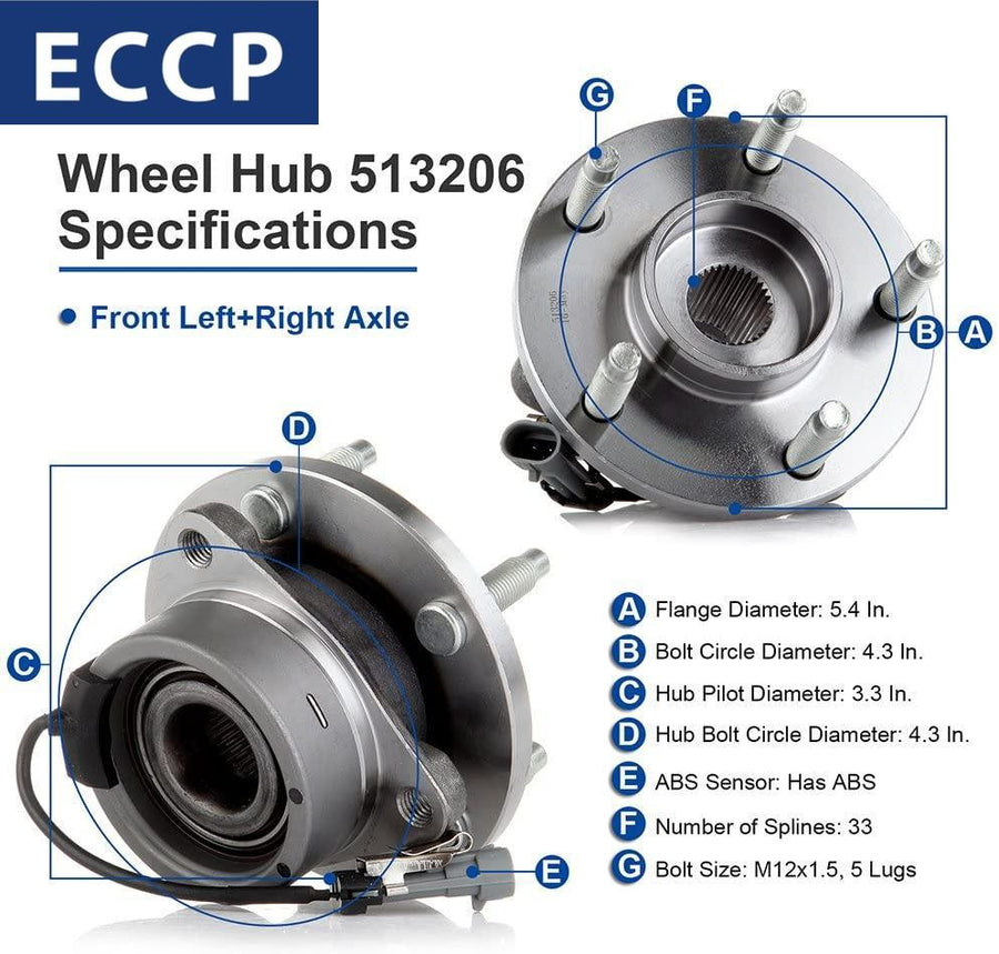 Two 513206 Front Wheel Bearing Hub Assembly for Chevrolet Cobalt HHR Pontiac G5 Pursuit Saturn Ion 2003 2004 2005 2006 2007 2008 2009 2010 2011
