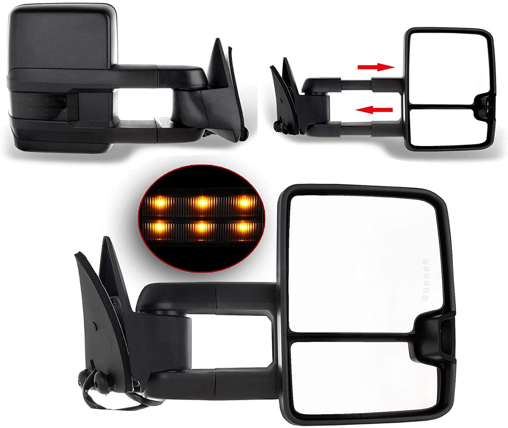 ECCPP Towing Mirrors for 1988-98 for Chevy GMC C K 1500 2500 3500 Black Cover Power LED Turn Signal Pickup Mirrors