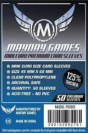 "Card Sleeves: Mayday - 50 Premium Blue ""Mini Euro"" (45mm x 68mm)"