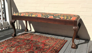 Antique Custom Upholstered Claw Foot Bench