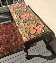 Load image into Gallery viewer, Antique Custom Upholstered Claw Foot Bench