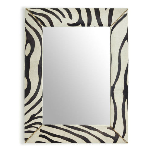 Two's Company Zebra Cowhide Mirror