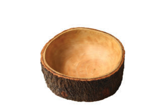 beHome Carved Mango Wood Bowl w/Bark