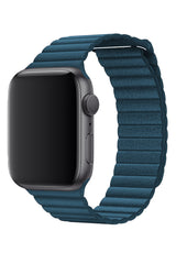 Apple Watch Uyumlu Deri Loop Kordon Deniz Mavi