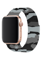 Apple Watch Uyumlu Çelik Milano Loop Kamuflaj Gri