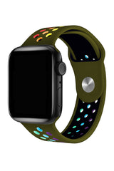 Apple Watch Uyumlu Silikon Delikli Spor Kordon Olive Stone