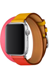 Apple Watch Uyumlu Spiralis Deri Kordon Altuni Pembe